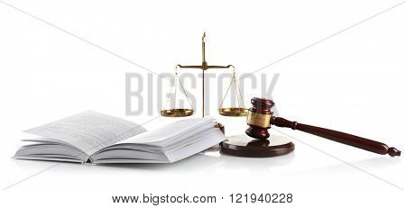 Wooden gavel with justice scales and open book, isolated on white