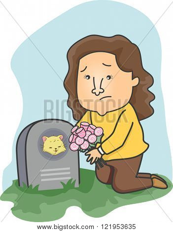 Illustration of a Girl Leaving Flowers on Her Cat's Grave