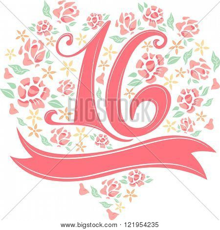Illustration of the Number 16 Decorated with Flowers and Ribbons