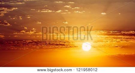Beautiful Sunset Sunrise. Panoramic Background. Yellow and orang