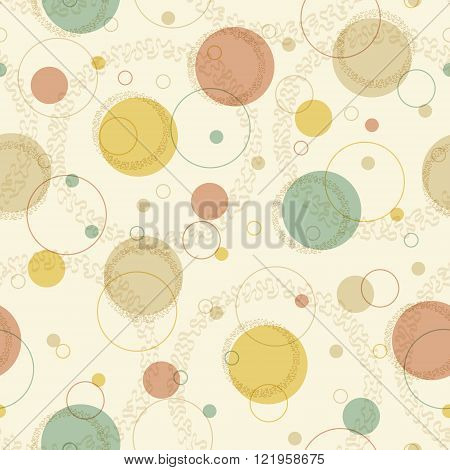 Abstract pattern with big and small cirles in retro colors. Seamless vector background.