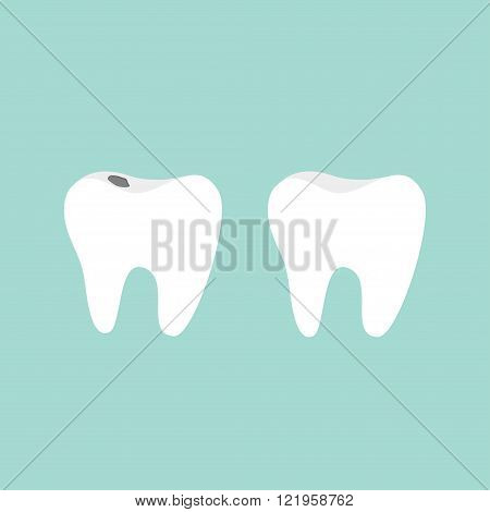 Tooth icon. Healthy and bad ill tooth with caries. Oral dental hygiene. Children teeth care. Tooth health. Blue background. Flat design. Vector illustration