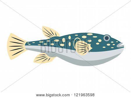 Fugu fish flat vector illustration. Fugu fish isolated on white background. Fugu fish vector icon il