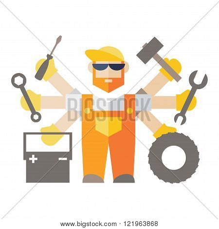 Car repair serviceman with tools and spare parts poster