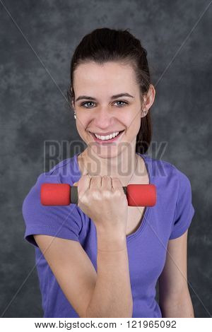 Happy Fitness Woman Lifting Dumbbells Smiling Cheerful, Fresh