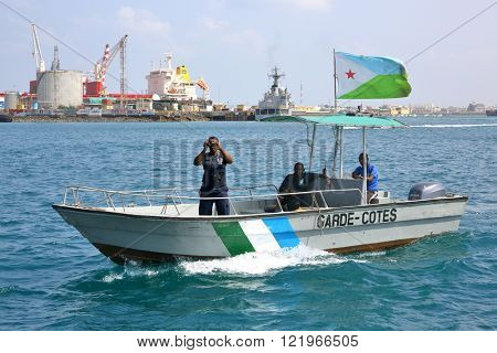 GULF OF ADEN, REPUBLIC OF DJIBOUTI FEBRUARY 08, 2016: Djiboutian Coast Guards patrol in the port harbor