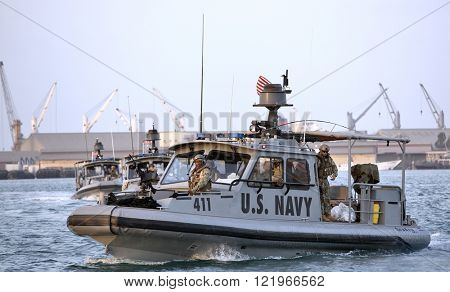 GULF OF ADEN, REPUBLIC OF DJIBOUTI â?? FEBRUARY 06, 2016: US NAVY inshore security patrolling in port of Djibouti