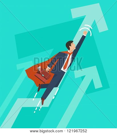 Businessman in a suit superhero flies up. Leadership and business growth concept.  Flat design. Vect