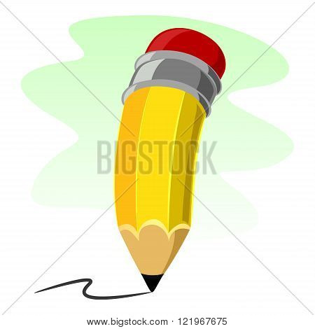 Stock Vector Illustration of isolated Yellow Pencil
