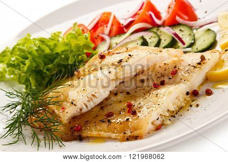 Fish dish - roast cod fillet and vegetables