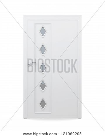 Door with glass inserts isolated on white background. 3d renderi
