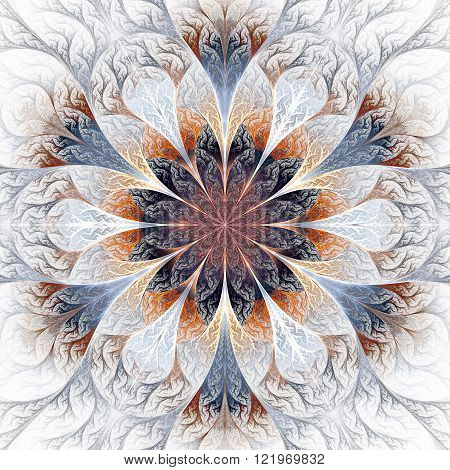 Beautiful fractal flower in gray brown and blue. Computer generated graphics.