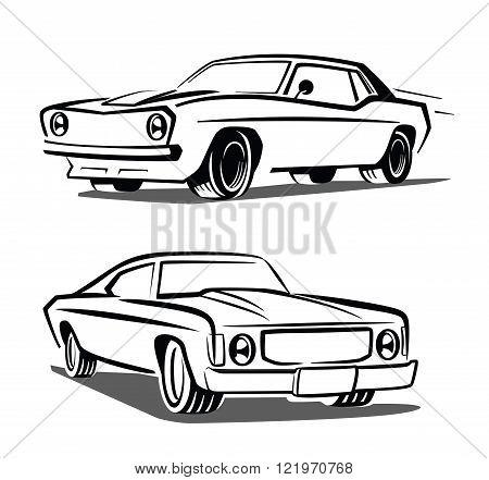 vector black muscle car