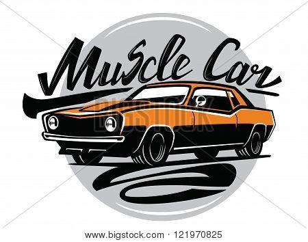vector orange muscle car