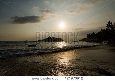 Sunset on the beach Mirissa in Sri Lanka (Ceylon)