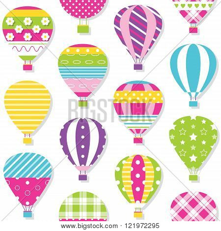 illustration of colorful hot air balloons collection on white background