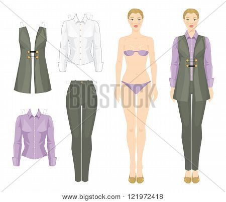 Paper doll with clothes. Template of woman body. Set of template paper clothes. Clothes for office and holiday. Vector illustration of blonde girl in green-grey pants, vest and lavender color blouse.