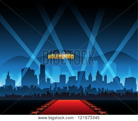 Hollywood movie red carpet background and city