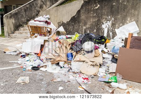 Outdoor Rubbish Dump Potentially Store Stagnant Water And Breed Mosquito