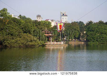 HANOI, VIETNAM - DECEMBER 13, 2015: Jade Temple. Sword Lake. The historic landmark of the city of Hanoi