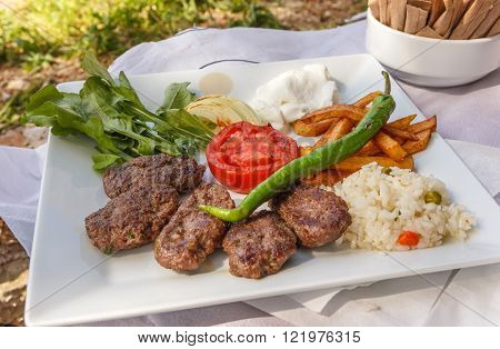 Turkish Meatballs And Garnish