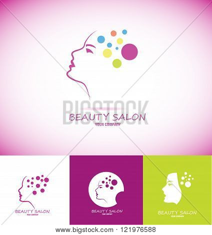 Vector company logo icon element template woman face profile contour line beauty portrait beautiful salon