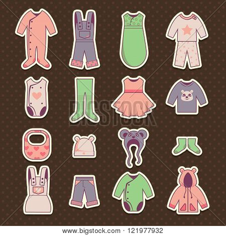 Baby cloth icons set