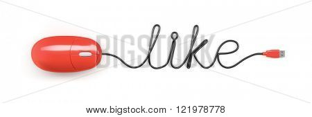 A red computer mouse and the word like formed by the cable