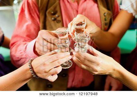 People in Bavarian Tracht clinking glasses with hard liquor in a pub