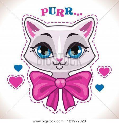 Cute cartoon white cat