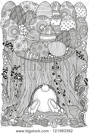 Black and white abstract fantasy picture. Easter bunny tree stump wood flowers trees fairy tale. Pattern for coloring book. Hand-drawn doodle vector zentangle design element.
