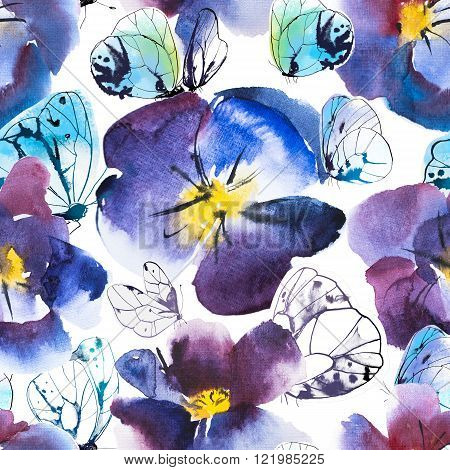 High Quality Watercolor and Ink Seamless Pattern Violet and Blue Flower of Pansy and White butterflies. Hand drawn design.