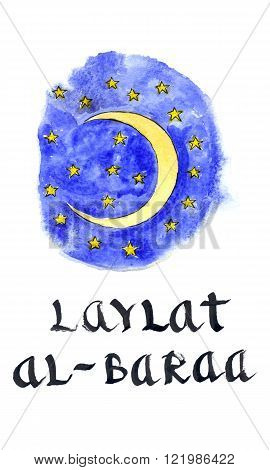 Moon and blue sky and yellow stars Arabic holiday