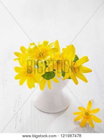 Bunch of early spring flowers ( Caltha palustris) in stand for boiled egg on the white wooden plank. Easter decor.