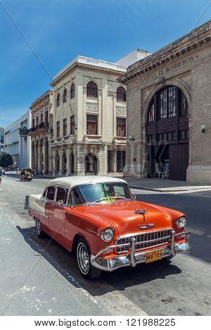 Havana, Cuba - April 1, 2012: Orange Chevrolet Vintage Car