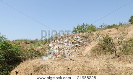 Unauthorized landfill. Environmental pollution. Myanmar ( Burma )