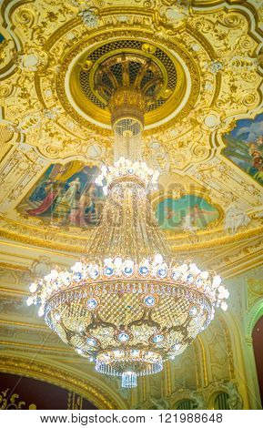 ODESSA UKRAINE - MAY 18 2015: The outstanding chrystal chandelier of the Opera Theater in Odessa on May 18 in Odessa.