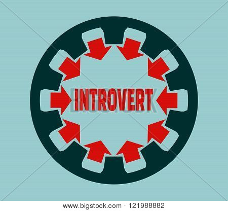 Introvert simple icon metaphor. image relative to human psychology