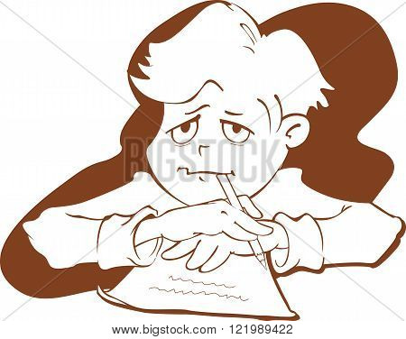 Hand-drawn vector illustration of a boy thoughtfully writing a letter.