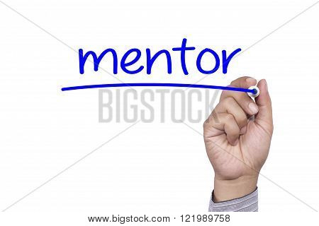 Man Hand writing Mentor with black marker on visual screen. Isolated on background. Business technology internet concept. Stock Photo