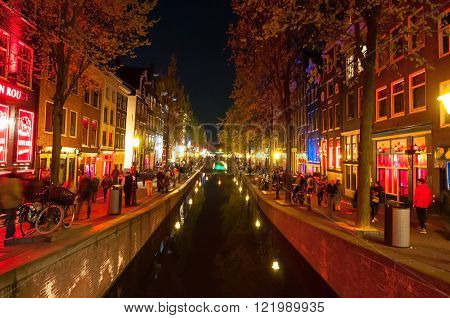 Amsterdam-May 1: Red light district (Wallen) at night on May 12015 in Amsterdam the Netherlands.