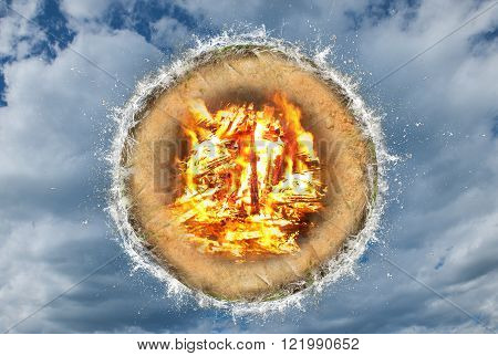 Four elements, concept with water, fire, sky and ground