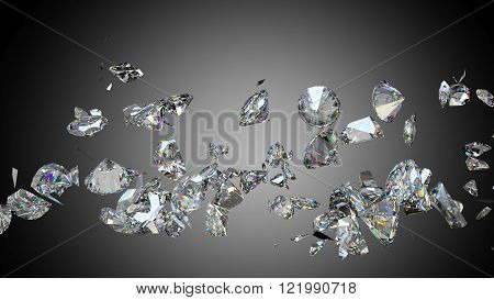 Broken And Shattered Diamonds Or Gemstones