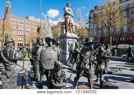 Amsterdam-April 30: Bronze-cast representation The Night Watch by Russian artists Mikhail Dronov and Alexander Taratynov on Rembrandtplein on April 30 2015 the Netherlands.