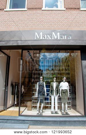 AMSTERDAM-APRIL 30: Max Mara store in the P.C.Hooftstraat shopping street on April 302015 in Amsterdam. The Italian fashion house was founded in 1951 by Achille Maramotti.