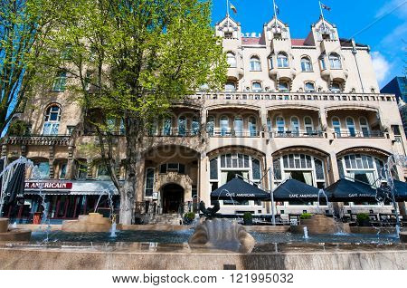 AMSTERDAM-APRIL 30: Facade of the American Hotel locally known as the Hotel Americain on April 302015the Netherlands. American Hotel is a hotel and café restaurant on the Leidseplein.
