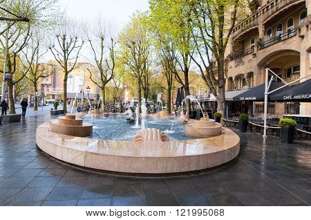 AMSTERDAM-APRIL 30: Fontain in front of the American Hotel locally known as the Hotel Americain on April 302015the Netherlands. American Hotel is a hotel and café restaurant on the Leidseplein.