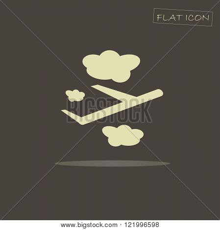 Flat icon aircraft. Easy aircraft on a dark background. The aircraft icon image. The airplane icon art. Airplane icon, figure, illustration. The airplane icon in JPEG format, EPS format, vector