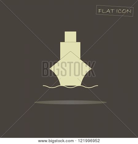 Flat icon ship. Light ship on a dark background. Icon vector. Ship icon image. Ship graphics icon. The ship icon art. Ship icon, figure, illustration. Ship icon in JPEG, EPS format, vector