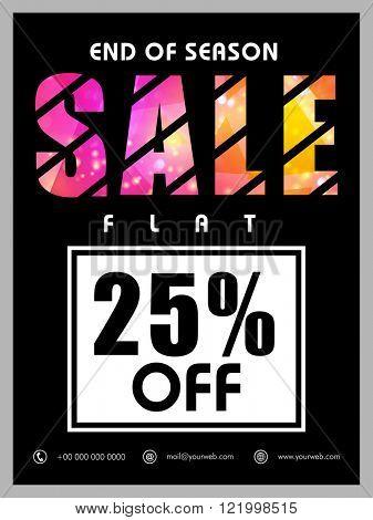 End of Season Sale Banner, Sale Poster, Sale Flyer, Sale Vector. Flat 25% Off, Sale Background. Vector illustration.
